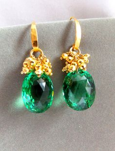 My Green Goddess Earrings Spring Green Amethyst Faceted Ovals Golden by JewelstoTreasure247