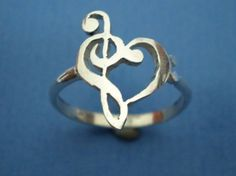Music Love Heart Ring - Treble Clef Bass Clef Ring :)