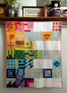 Diary of a Quilt Maven: Baby Tula Pink quilt Sampler Quilts, Scrappy Quilts, Baby Quilts, Pink Quilts, Modern Quilt Blocks, Crazy Patchwork, Quilting Designs, Quilt Design, Contemporary Quilts