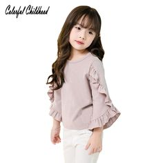 Colorful Childhood Little Girls Ruffle Bat T Shirt Autumn Princess Girl Blouses Spring Tops Teen Girl Outfits, Girls Fashion Clothes, Dresses Kids Girl, Toddler Fashion, Kids Outfits, Kids Fashion, Kids Dress Wear, Baby Dress, Diy Fashion Videos