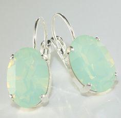 Mint opal earrings oval crystal