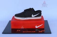 Nike Shoe and Shoe Box Cake for a 16-year-old boy. Shoe Box: Dark Chocolate Mud cake filled with chocolate ganache Shoe - Rice Crisp Treats