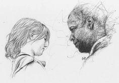 Man on fire . #dibujo #retrato #draw #dibujando #drawing #pluma #pen #boligrafo #boli #art #scketch #andresem #face #rostros #garabato #ilustracion #ilustration #cine #movie #manonfire #hombreenllamas #elfuegodelavenganza #creasy #johncreasy #denzelwashington #lupitaramos #lupita #dakotafanning #tonyscott