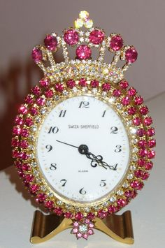 A Beautiful Vintage Alarm Clock 18 Bejeweled Crown Brooch Pinks By Debbie-Weiss, Juliana,brush, comb, vintage, Clock,tray, mirror, perfume, antique, vintage, victorian, Sparkle,