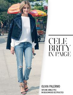 Olivia Palermo in PAIGE Denim / Skyline Ankle Peg in Beachwood Destructed