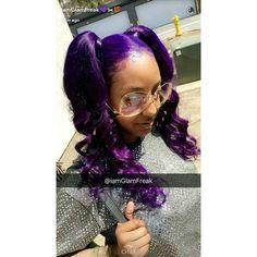 love this purple hair so cute! Dope Hairstyles, Weave Hairstyles, Pretty Hairstyles, Ponytail Hairstyles, Bold Hair Color, Beautiful Hair Color, Look Girl, Natural Hair Styles, Long Hair Styles