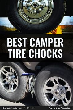RV tire stabilizers prevent the motorhome from rocking or swaying when parked on uneven surfaces or mountain terrain. These are a must-have piece of gear for off-grid camping or boondocking. Add wheel chocks to your packing list if you're living in a motorhome or 5th wheel travel trailer. They fit easily in storage inside your camper and can keep you safe during road trip travels. Travel Trailer Tires, 5th Wheel Travel Trailers, Small Camper Trailers, Tiny Camper, Small Campers, Cool Campers, Rv Tires, Used Wheels, Class A Motorhomes
