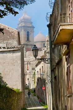View along old town street of Erice, Sicily, Italy