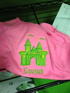 Princess Castle Applique.  ANY COLOR!  Add a name for no additional charge.  Provide a shirt or we can!  $15-$20  #castle  #applique  #monogramming  #leisalovelydesigns