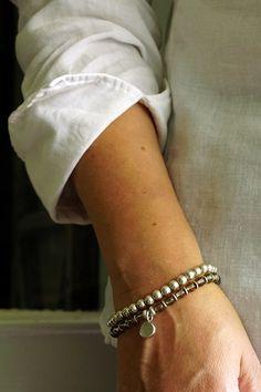 Silver & smoky quartz bracelets
