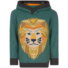 Monsoon Lathan Lion Hoodie ($29) ❤ liked on Polyvore featuring tops, hoodies, ribbed top, sweatshirt hoodies, green hoodie, lion top and cotton hoodies