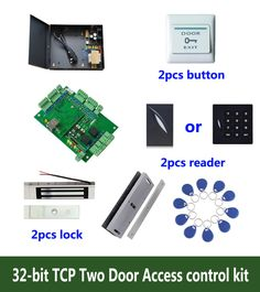 32-bit access control kit,TCP two door access control+power+180kg magnetic lock+U-bracket +ID reader+button+10 ID tag,:kit-T204 #Affiliate