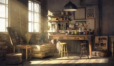 [image] Title: Coffee Lab Name: Sungjoon Bae Country: USA Software: Maya MARI VRay Submitted: March 2015 This is based on my memory of when I was studying in coffee class. This is the coffee lab I imagined of w… Coffee Lab, Environment Concept Art, Environment Design, Interior Exterior, Interior Design, Interior Concept, Environmental Art, My New Room, Decoration