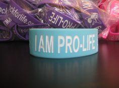 """I AM PRO-LIFE"" Wristband-Blue"