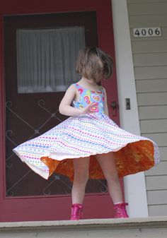 Girls clothing = Wearable Art by TwirlyGirl®. Twirly dresses & skirts made in USA. Unique, colorful & fun clothes for girls. Little Girl Summer Dresses, Cute Little Girls Outfits, Cool Outfits, Girls Dresses, Young Girl Fashion, Kids Fashion, Up Skirt Pics, Swimming Outfit, We Are The World