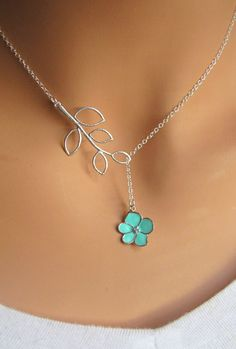 Aqua Orchid Flower with CZ and Branch lariat necklace. Bridal. Wedding. Bridesmaids Gift. Everyday Wear. In Silver.