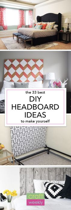 All I can say is WOW! I want to make all of these DIY headboard ideas - maybe a different one for every room! Headboard Ideas, Diy Fabric Headboard, Unique Headboards, Headboards For Beds Diy, Diy Upholstered Headboard, Quilted Headboard, Diy Pillows, Homemade Headboards, How To Make Headboard
