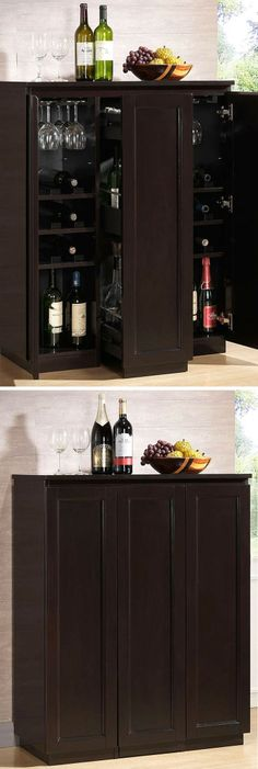 Enclosed Modern Bar Cabinet // #furniture #wine #spacesaving
