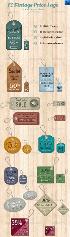 12 Vintage Price Tags Features: All items are in vector shapes and fully editable. Shapes, colors, text can be easily changed All layers are organized in groups. Free fonts are used. Download link in the helpfile. http://startupstacks.com/web-elements/12-vintage-price-tags.html - free download