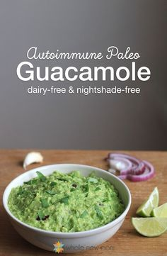 Going on AIP to heal our bodies meant having to redo a lot of favorite recipes – but this autoimmune paleo guacamole is even better than my original! Paired with some autoimmune protocol chips, and you've got the perfect snack. It's also low-carb, THM S, paleo, dairy-free, and nightshade-fre