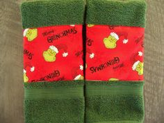 Grinch Bath Hand Towels Set of Two Handmade Bath Decor Bath Linens