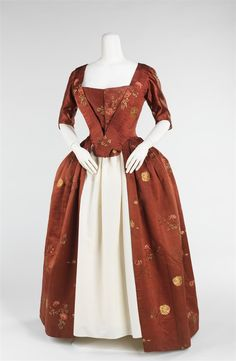 1750. Robe à l'Anglaise. British. Silk.  A variation on the Robe à la Française was the Robe à l'Anglaise, having a tight, fitted back, rather than the draped pleats of the Française.