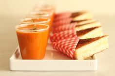 Mini grilled cheeses and tomato soups