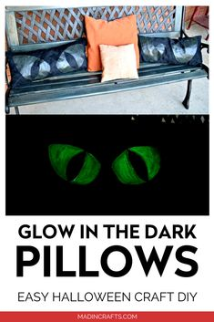 They might look like regular black pillows by day, but at night they turn into glowing monster eyes! See how easy it is to make these glow-in-the-dark monster pillows for Halloween! Easy Halloween Crafts, Fun Diy Crafts, Halloween Projects, Glow Paint, Monster Eyes, Blogger Home, Project Steps, Puffy Paint, Black Pillows