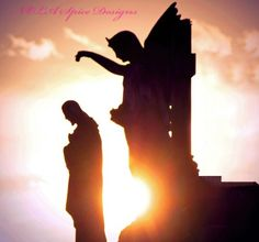 Jesus and Angel at Sunset New Orleans Cemetery Photography