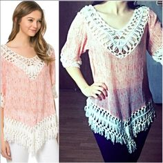 Coral & Cream Crochet Knit Boho Top This adorable coral and cream crochet knit boho top is just stunning! The blouse itself is a slightly sheer chiffon like material and the crochet is so incredibly soft. Fits true to size with a relaxed casual slightly flowy fit. Have in black/cream or coral/cream. Made of 100% polyester so it won't shrink! Have S (2-4) M(6-8) and L(10-12) you may purchase this listing as I've created individual listings for each size and color. Suggested to wear a cami…