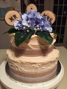 Rustic themed wedding cake.