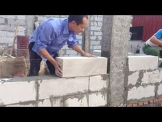 Building House Step by Step - Build A Wall Using Brick Terracotta And Cement Mixture Sand - YouTube