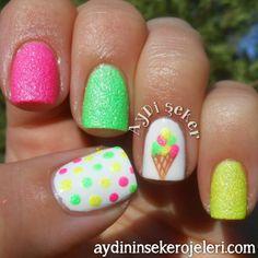Textured Ice Cream Mani nail art by Aydi Seker Texturierte Eiscreme-Mani-Nagelkunst durch Aydi Seker Girls Nail Designs, Pretty Nail Designs, Art Designs, Summer Gel Nails, Beach Nails, Neon Nails, Love Nails, Fancy Nails, Trendy Nails