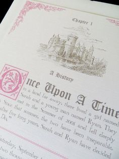 Fairytale Wedding Invitation Packet by AbbieLeeDesigns on Etsy or instead of an invitation, do a little story booklet for everyone to read and look at while they wait for the processional