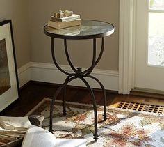 Willow Metal & Mirror Round Accent Table, Aged Bronze finish - traditional - side tables and accent tables - Pottery Barn