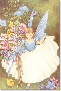 Ida Rentoul Outhwaite - Juvenile Nursery Rhymes Rhyme  Prints - Fairy Tales - Fairies - Fairy Print - by Ida Rentoul Outhwaite - Blue Fairy Archival Fine Art Paper Print
