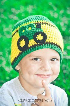 Crochet John Deere Tractor Hat 6 12 month by jwhizcrochet Crochet Hooded Scarf, Crochet Baby Jacket, Crochet Baby Beanie, Crochet Kids Hats, Crochet Amigurumi Free Patterns, Crochet For Boys, Crochet Stitches, Knitted Hats, Crochet Waffle Stitch