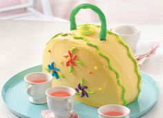 Adorable tea party purse cake for my little girls birthday party!