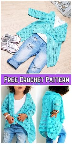 Crochet Girl's Blue Sky Cardigan Free Crochet Pattern - Crochet Ideas Crochet Girl's Blue Sky Cardigan Free Crochet Pattern Always wanted to discover ways to knit, yet unclear the place to b. Crochet Poncho Patterns, Crochet Cardigan Pattern, Crochet Jacket, Sweater Patterns, Knitting Patterns, Toddler Scarf Crochet Pattern, Crochet Baby Dress Free Pattern, Crochet Baby Poncho, Sewing Patterns