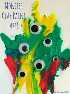 Kids' Halloween art activity, painting with clay!