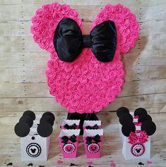 Caliente negro y rosa Minnie Mouse Piñata Negro y