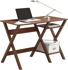 Techni Mobili RTA-8402-OAK Writing Desk with Side Shelves. Color: Oak