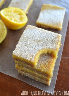 Soft and custard-y old-fashioned lemon bars | wholeandheavenlyoven.com