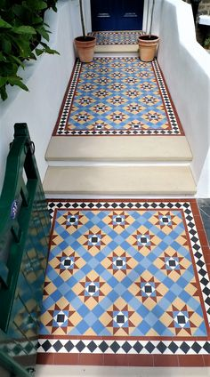 London Mosaic | Victorian Pathway | Stevenson 70 | Click on the image for more information | #tiles Entryway Flooring, Hall Flooring, Victorian Front Garden, Porch Tile, Exterior Tiles, Tiled Hallway, Courtyard House Plans, Victorian Tiles, Edwardian House