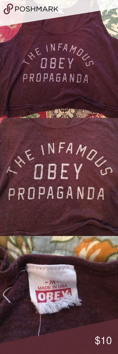 """Obey purple crop top tank - size medium Adorable, purple """"Obey Propaganda"""" purple crop top tank! Size medium. Ordered this and unfortunately it doesn't fit me so I must part with it :( Obey Tops Crop Tops"""