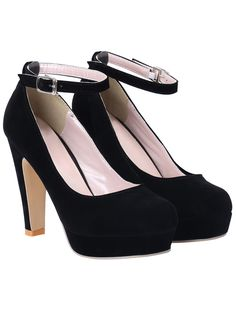 Black Ankle Strap High Heel Pumps 25.06