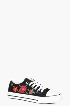 boohoo Paige Embroidered Lace Up Trainer