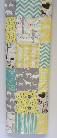Baby Quilt-Gender Neutral-Woodland Animal Baby by NowandThenQuilts