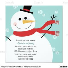 Jolly Snowman Christmas Party 5.25x5.25 Square Paper Invitation Card | Design by mood4cute