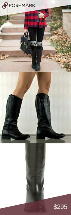 "NWT Frye Melissa Button riding boot in black NWT. Frye Melissa Button boot in black. Perfect for Fall & Winter!   Details & Description   Button-accented pull tabs top a handcrafted riding boot fashioned from fine, hand-burnished leather for a marbled, vintage look. Bench-crafted by hand, Frye?s 150-year-old heritage of quality leatherwork is evident in every detail. 1"" heel (size 8.5). 15"" boot shaft; 14 1/2"" calf circumference. Pull-on style. Foam-cushioned midsole. Frye Shoes"